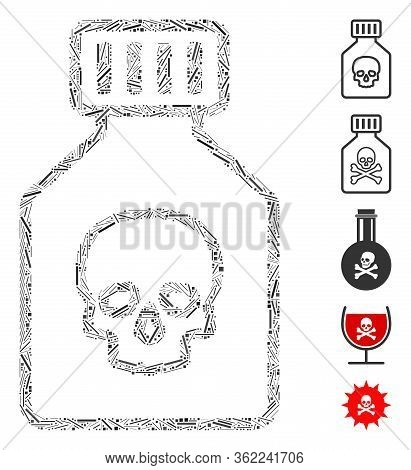 Linear Collage Poison Phial Icon Composed Of Narrow Items In Random Sizes And Color Hues. Vector Lin