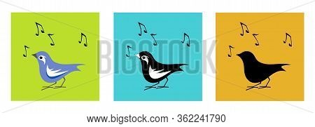 Song Bird Black And White And Color Variation