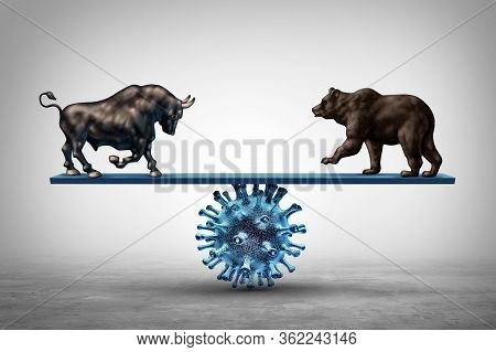 Business See Saw And Disease And Economic Pandemic Outbreak And Stock Market Virus Fear Or Bull And