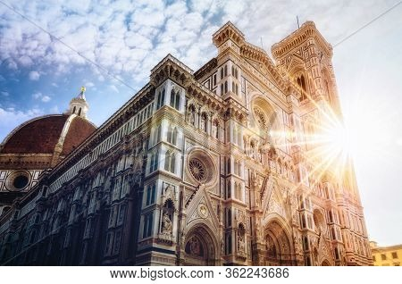 Facade Of The Famous Basilica Of Santa Maria Del Fiore (saint Mary Of The Flower), Cathedral Of Flor