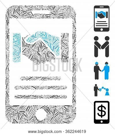 Linear Mosaic Mobile Agreement Handshake Icon Organized From Thin Items In Different Sizes And Color
