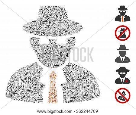 Line Collage Spy Icon Constructed From Narrow Items In Variable Sizes And Color Hues. Vector Line It