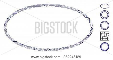 Line Mosaic Oval Frame Icon Designed From Straight Items In Variable Sizes And Color Hues. Vector Ha
