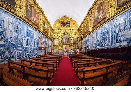 Evora, Portugal - February 1, 2019: Igreja Da Misericordia, Important Baroque Church In Evora, Alent
