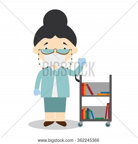 Cute Cartoon Vector Illustration Of A Librarian With Surgical Mask And Latex Gloves As Protection Ag
