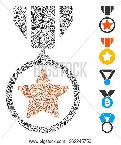 Hatch Mosaic Army Medal Icon Organized From Narrow Elements In Different Sizes And Color Hues. Vecto