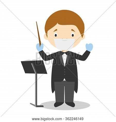 Cute Cartoon Vector Illustration Of An Orchestra Director With Surgical Mask And Latex Gloves As Pro