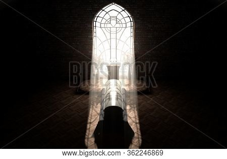 A Dark Church Interior Lit By Suns Rays Penetrating Through A Glass Window On A Pulpit And Closed Co