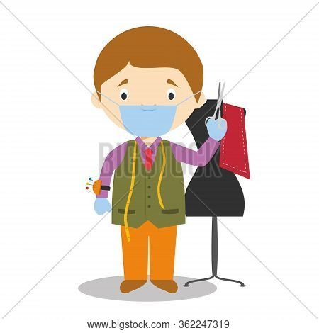 Cute Cartoon Vector Illustration Of A Tailor With Surgical Mask And Latex Gloves As Protection Again