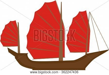 Asian Vietnam Junk Boat, Vector Icon. Simple Stylized Cartoon Ship Clip Art Illustration.