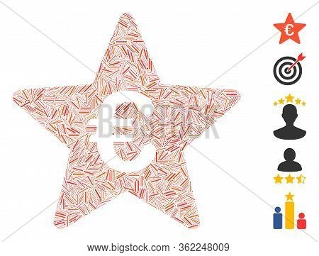 Line Collage Euro Hit Parade Star Icon Composed Of Narrow Items In Different Sizes And Color Hues. V