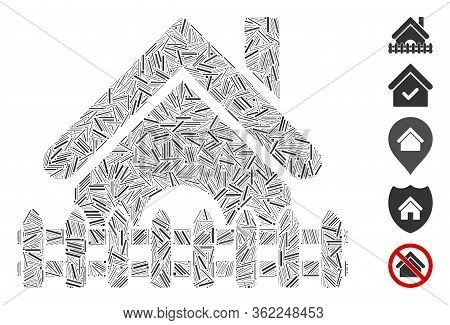 Line Mosaic Home Fence Icon Composed Of Straight Items In Variable Sizes And Color Hues. Vector Line