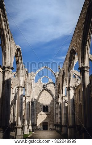 Ruins Of The Ancient Convent Of Carmo In Lisbon, Portugal, Roofless Church Open To Sky Survived To T