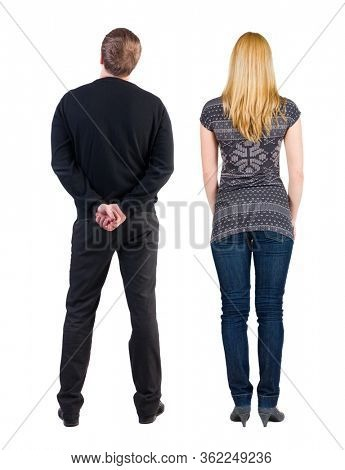 Back view couple in sweater. beautiful man and woman. Rear view people collection. backside view of person. Isolated over white background.