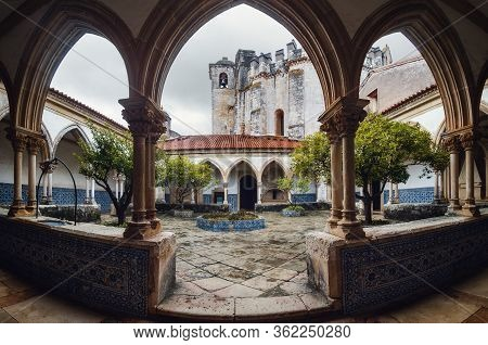 Tomar, Portugal - January 31, 2019: The Convent Of Christ, Ancient Templar Stronghold And Monastery