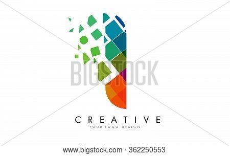 Letter I Design With Rainbow Shattered Blocks Vector Illustration. Pixel Art Of The I Letter Logo.