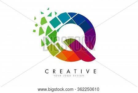 Letter Q Design With Rainbow Shattered Blocks Vector Illustration. Pixel Art Of The Q Letter Logo.
