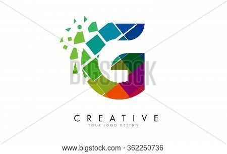 Letter G Design With Rainbow Shattered Blocks Vector Illustration. Pixel Art Of The G Letter Logo.