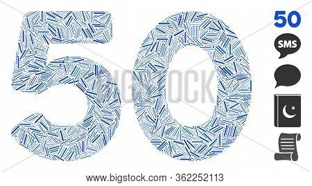 Linear Mosaic 50 Digits Text Icon United From Thin Items In Random Sizes And Color Hues. Vector Hatc
