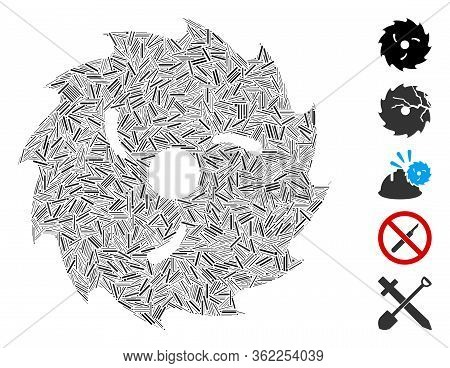 Hatch Mosaic Circular Wood Blade Icon Designed From Thin Items In Different Sizes And Color Hues. Ve