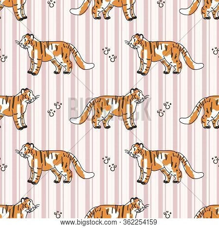 Cute Tiger With Paw Pad Seamless Vector Pattern. Hand Drawn Striped Big Cat For Safari Jungle Illust