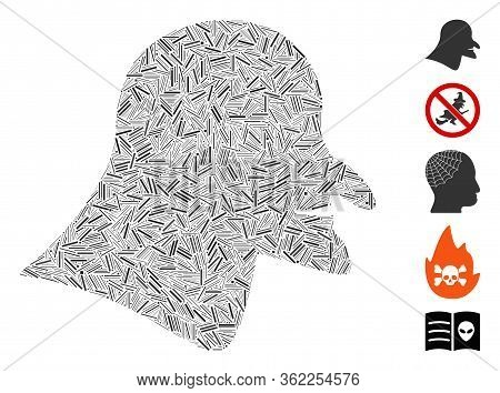 Line Mosaic Witch Head Icon Composed Of Straight Elements In Different Sizes And Color Hues. Vector
