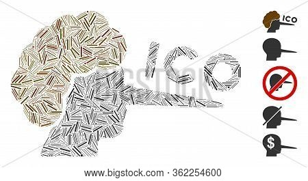 Linear Mosaic Ico Liar Icon Composed Of Narrow Elements In Various Sizes And Color Hues. Vector Hatc