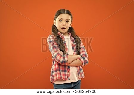 Wondering Every Day. Upbringing Versatile Personality. Childhood Concept. Girl Child Stand Orange Ba