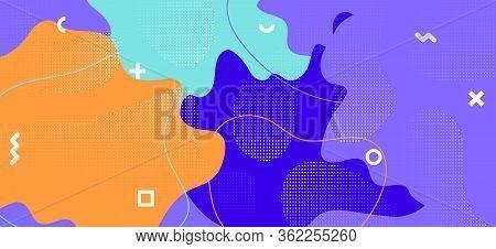 Bright Memphis Shape. Trendy Geometric Presentation. Contemporary Fluid Ornament. Purple Funky Textu