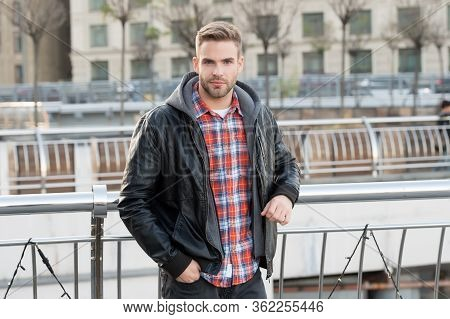 Casual Purposes Comfort. Handsome Guy In Casual Style. Young Man Wear Casual Clothing On Urban Outdo