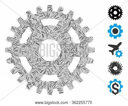 Line Collage Pinion Icon United From Thin Elements In Different Sizes And Color Hues. Vector Line El