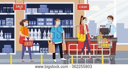 Supermarket Store Counter Cashier And Buyers In Medical Mask, With Cart And Basket Of Food. Quaranti