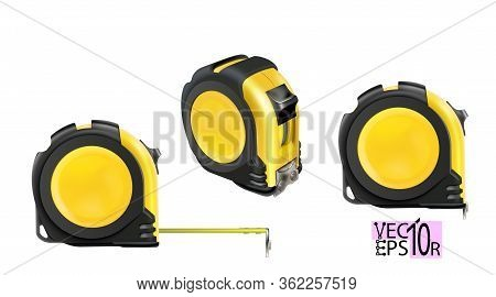 Set Realistic Tape Measure Isolated On White Background. Photo-realistic Roulette Construction Tool