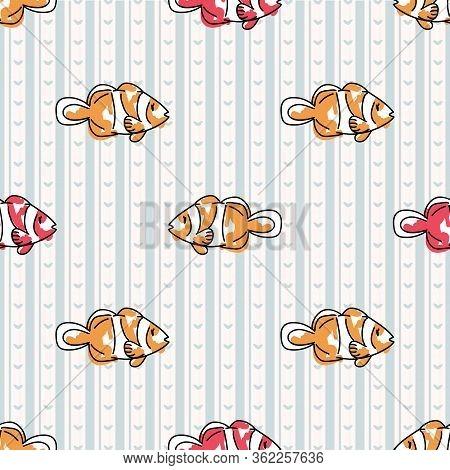 Cute Cartoon Two Clownfish Seamless Vector Pattern. Hand Drawn Sealife Fish For Marine Ocean Illustr