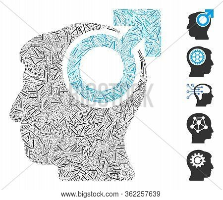 Line Collage Intellect Potency Icon Organized From Thin Items In Random Sizes And Color Hues. Vector