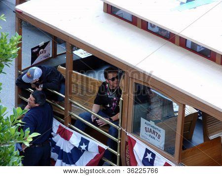 Tim Lincecum And Dan Runzler Hang In Trolley Car Before Start Of Parade