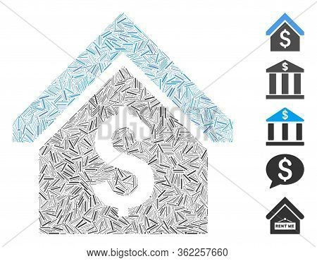 Hatch Collage Loan Mortgage Icon Designed From Thin Elements In Random Sizes And Color Hues. Vector