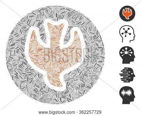 Linear Collage Falling Soul Icon Organized From Thin Items In Different Sizes And Color Hues. Vector