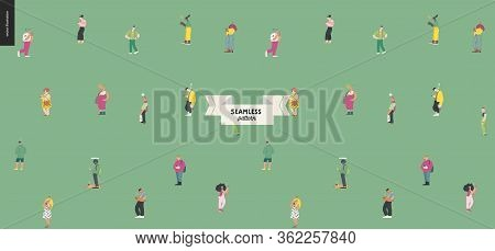 Waiting In Line, Seamless Pattern - Modern Flat Vector Concept Illustration Of A Young Men A Women S