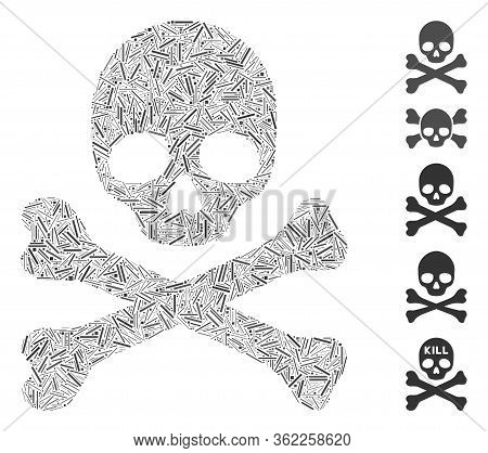 Hatch Mosaic Skull And Crossbones Icon Organized From Straight Items In Random Sizes And Color Hues.