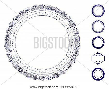 Linear Mosaic Rosette Circular Star Frame Icon United From Thin Items In Different Sizes And Color H
