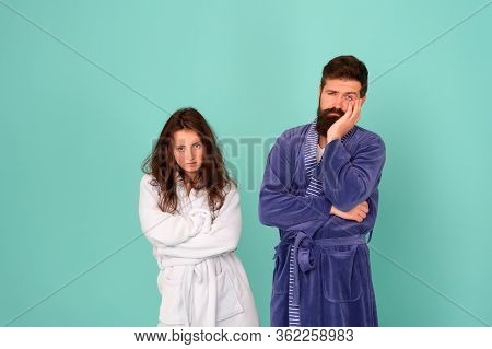 All Day Pajamas. Sleepy People Blue Background. Couple In Love Bathrobes. Drowsy And Weak In Morning