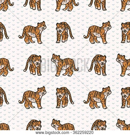 Cute Two Tiger Seamless Vector Pattern. Hand Drawn Striped Big Cat For Safari Jungle Illustration. B