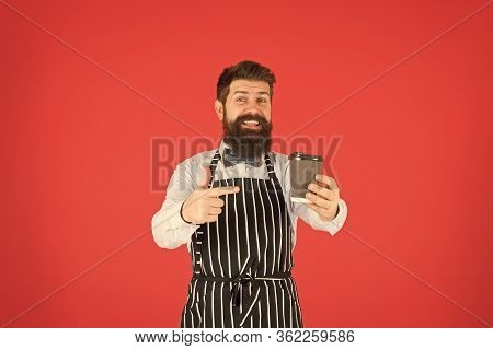 Try This. Brutal Waiter In Cafe. Mature Man Red Background. Skilled Servant. Barista Hipster Chef Ap