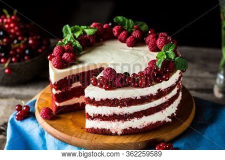 Red Velvet Cake On Wood Board. Slice Of Cake. Raspberry Cake. Devils Cake. Wedding Dessert. Birthday