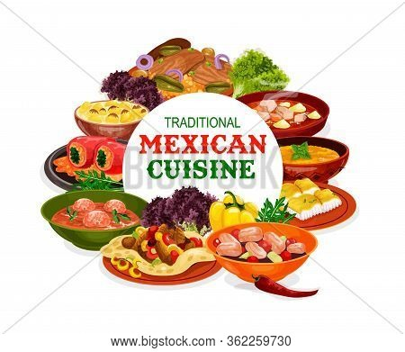 Mexican Cuisine Vector Design Of Vegetable Food With Meat And Fish. Stuffed Peppers, Tomato Meatball