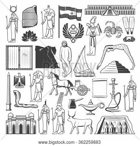Egypt Sketches With Ancient Egyptian Travel Landmarks And Tourism Vector Design. Pharaoh Pyramid, Sp