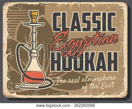 Egyptian Hookah Vector Design Of Arabic Tobacco Smoke Pipe. Oriental Lounge Bar Shisha Or Exotic Rel
