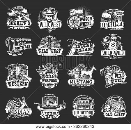 Wild West And Western Vector Icons. Cowboy, Sheriff And Bull Skull, Bandit Hat And Gun, Ranger Star,