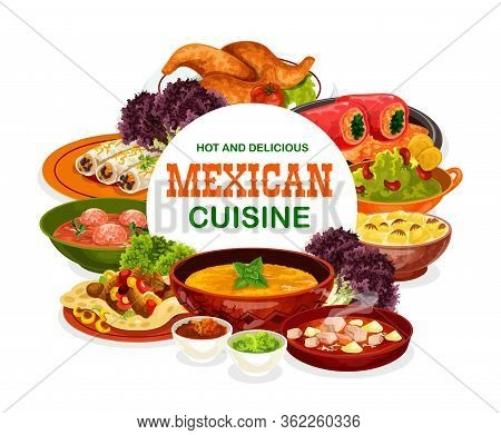 Mexican Cuisine Food Of Meat And Vegetables Vector Design. Stuffed Peppers, Bean Burritos And Beef F